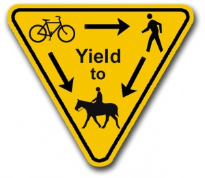 Horses, HIkers & Bikers Sign -Etiquette