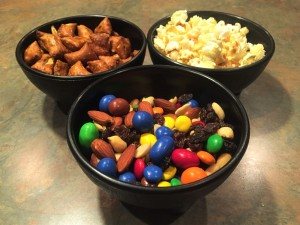 Trail Mix, Pretzels filled with Peanut Butter and Popcorn